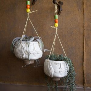 Set Of Two Ceramic Hanging Face Vases - White