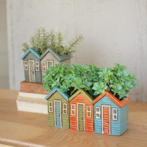 Set Of Two Ceramic House Planters