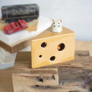 Ceramic Cheese And Mouse Night Light