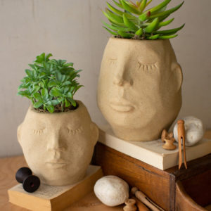 Set Of Two Ceramic Face Planters
