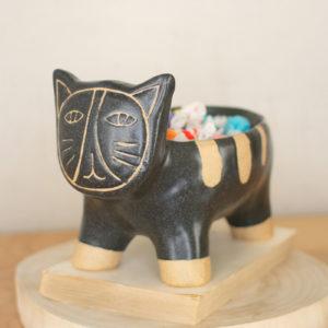 Black And Natural Ceramic Cat Bowl