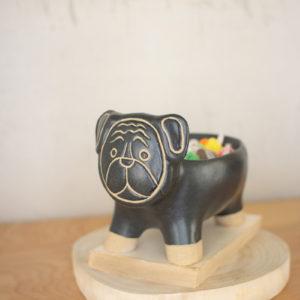 Black And Natural Ceramic Dog Bowl