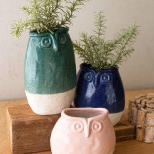 Set Of Three Ceramic Owl Planters