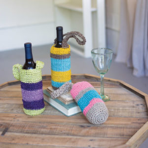 Set Of Three Crocheted Fique Wine Bags
