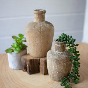 Set Of Two Carved Shoulder Wooden Bottles