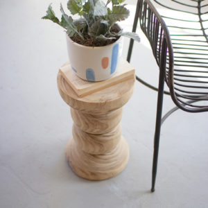 Hand-Carved Wooden Pedestal