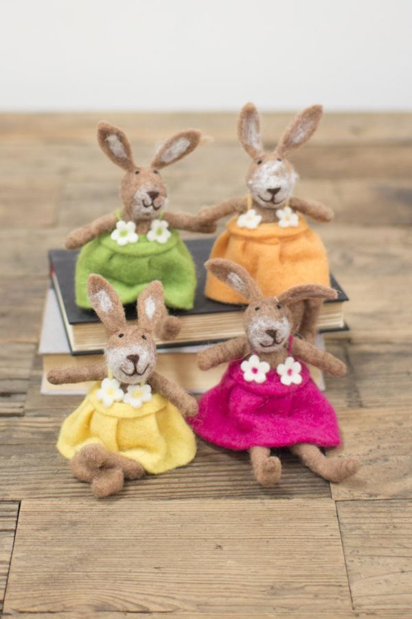Set Of 4 Felt Rabbits-One Each Color