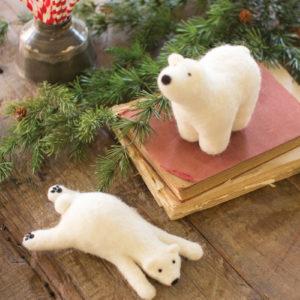 Set Of Two Felt Polar Bears