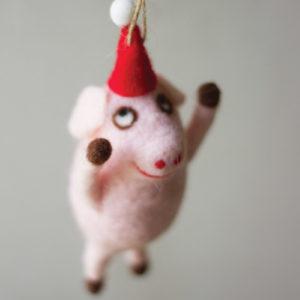 Felt Flying Pig Ornament