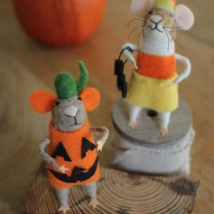 Set Of Two Felt Halloween Mice