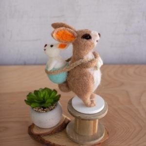 Felt Rabbit Holding Baby