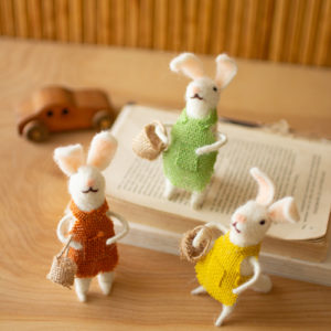Set Of Three Felt Rabbits