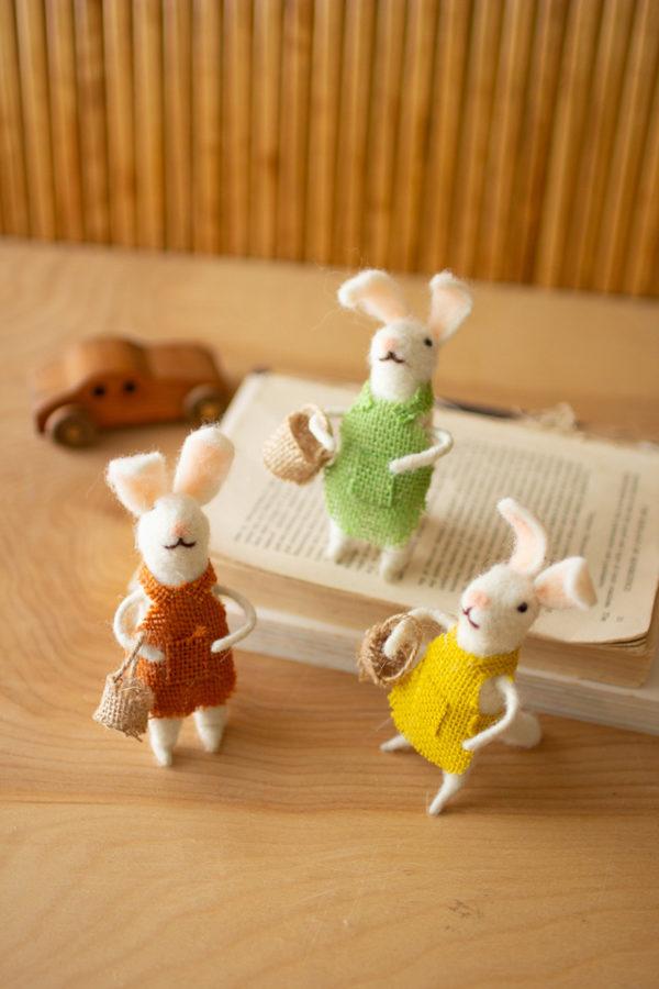 Set Of Three Felt Rabbits