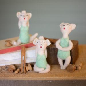 Set Of Three Felt Yoga Pigs