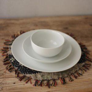 S 3 White Ceramic Dinnerware -One Each Bowl Salad Dinner