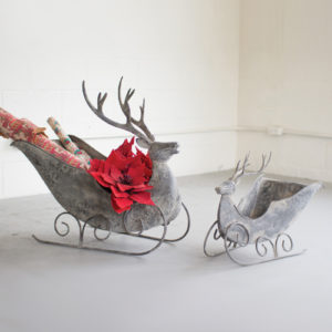 Set Of 2 Deer Sleighs