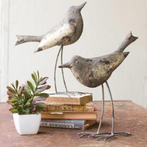 Set Of 2 Metal Birds - Rustic Grey