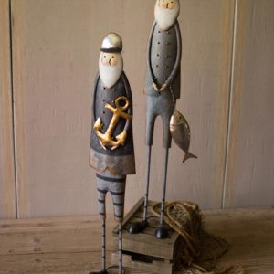 Set Of Two Painted Metal Fishermen