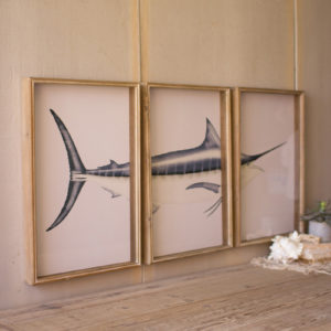 Set Of Three Marlin Print Under Glass