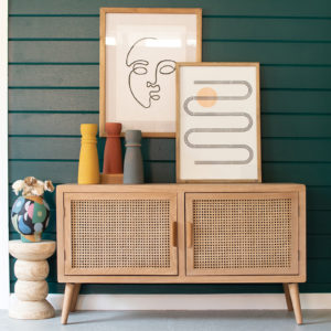 Wood Tv Cabinet With Woven Cane Doors