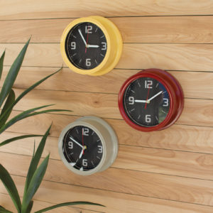 Set Of Three Painted Iron Wall Clocks - One Each