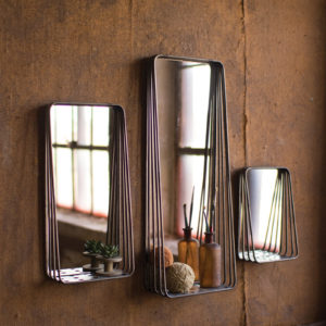Set Of Three Tall Metal Framed Mirrors With Shelves