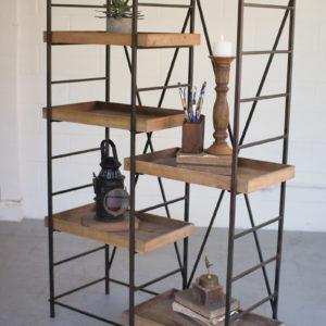 Iron Shelving Unit W/ Six Adjustable Wooden Shelves