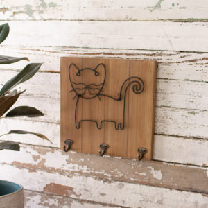 Wood And Metal Pet Wall Hooks - Cat
