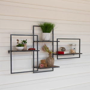 Multi Level Wood And Metal Wall Shelf