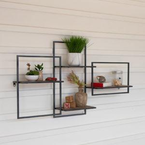 Multi Level Wood And Metal Wall Shelf