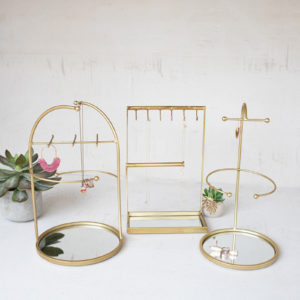 Set Of Three Tabletop Jewelry Stand With Mirror Bases