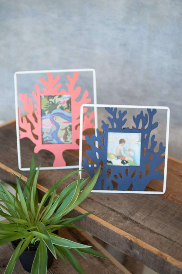 Set Of Two Painted Metal Coral Photo Frames