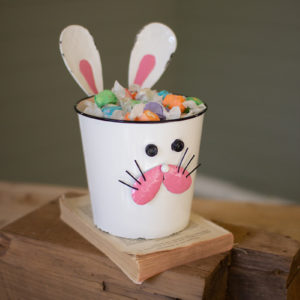 Painted Metal Rabbit Planter - (Includes 2)