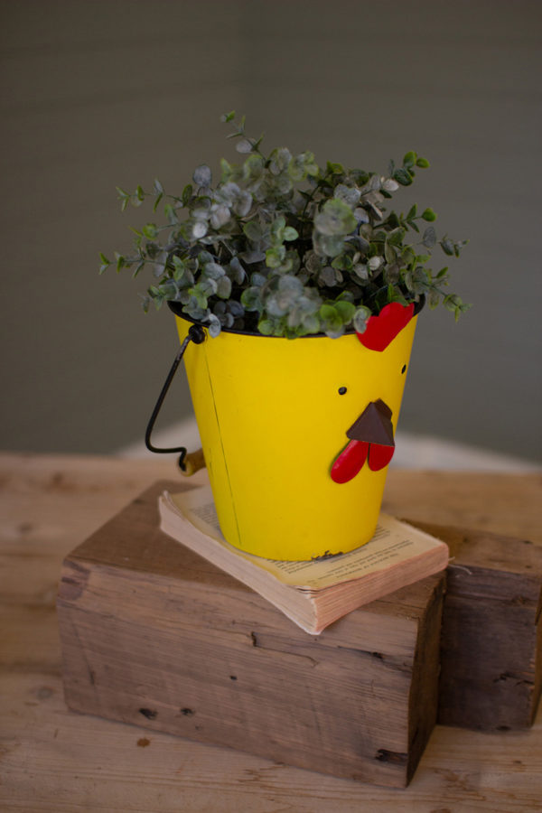 Painted Metal Chick Planter - (Includes 2)