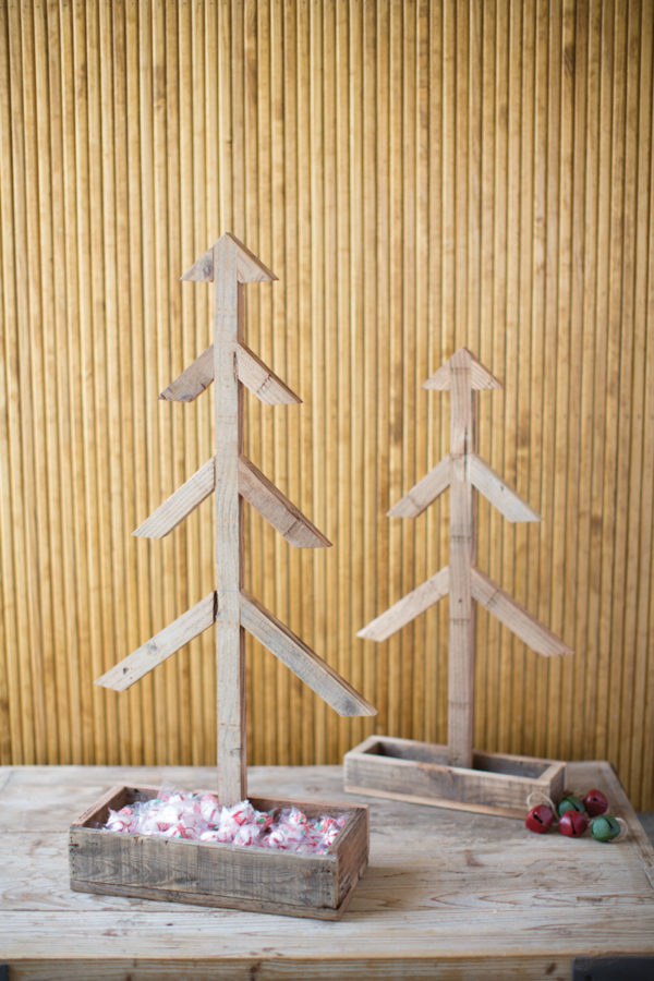 Set Of Two Recycled Wood Christmas Trees With A Wooden Tray