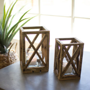Set Of Two Recycled Wooden Lanterns With Glass Insert