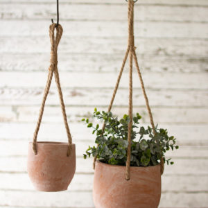 Set Of Two Hanging Clay Flower Pots