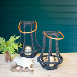 Set Of Two Slate Blue Jute And Wire Lanterns With Glass Inserts