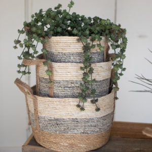 Set Of Three Round Rush Baskets - Grey