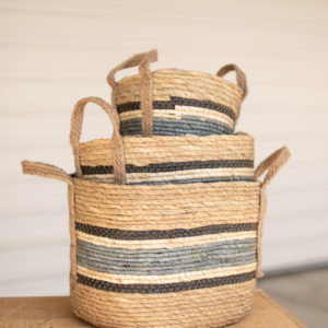 Set Of Three Round Rush Baskets - Blue