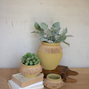 Set Of Three Green Clay Flower Pots With Jute Collar