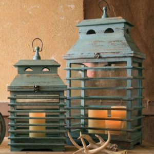 Set Of Two Vintage Blue Shutter Lanterns