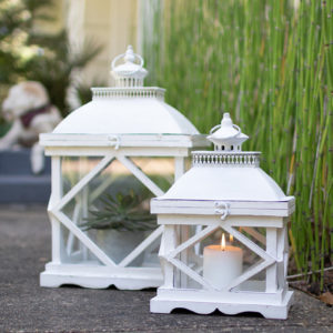 Set Of Two Rustic White Wooden Lanterns