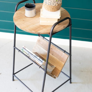 Wood And Rustic Metal Side Table With Magazine Rack
