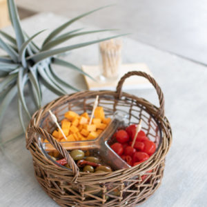 Wicker Wrapped Glass Chip And Dip Tray