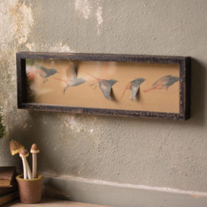 Framed Paper Flying Birds Under Glass