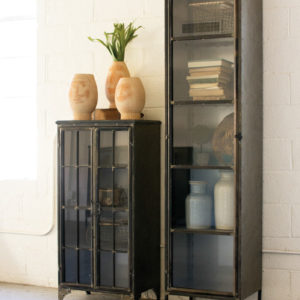 Tall Iron And Glass Apothecart Cabinet