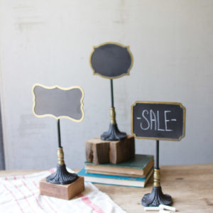 Set Of Three Chalk Boards On Stands - One Each Design