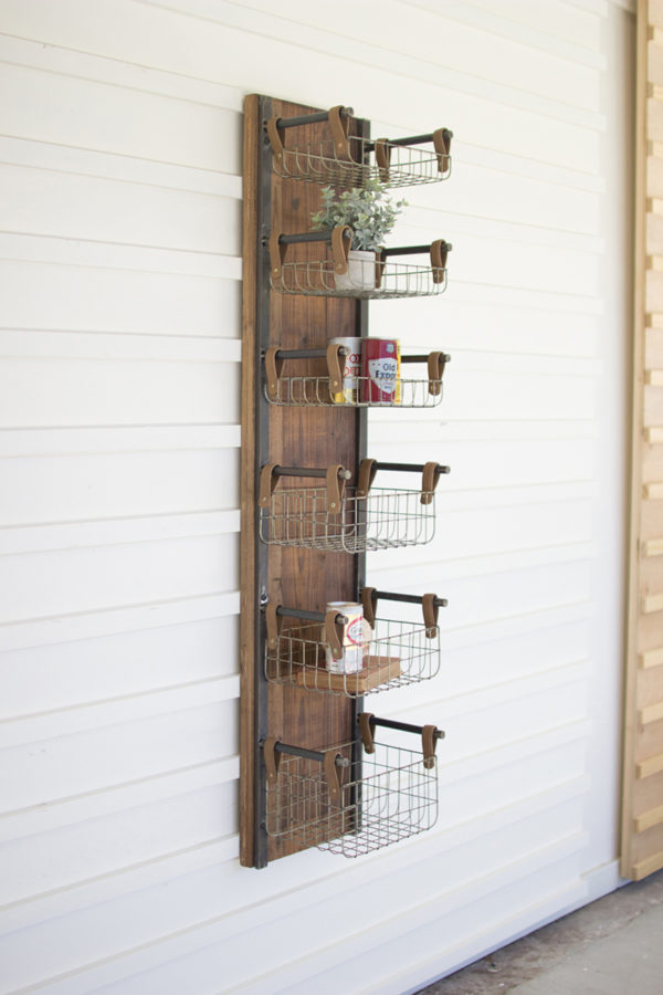 Recycled Wood & Metal Wall Rack W Six Wire Storage Baskets