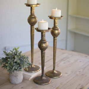 Set Of Three Metal Candle Stands